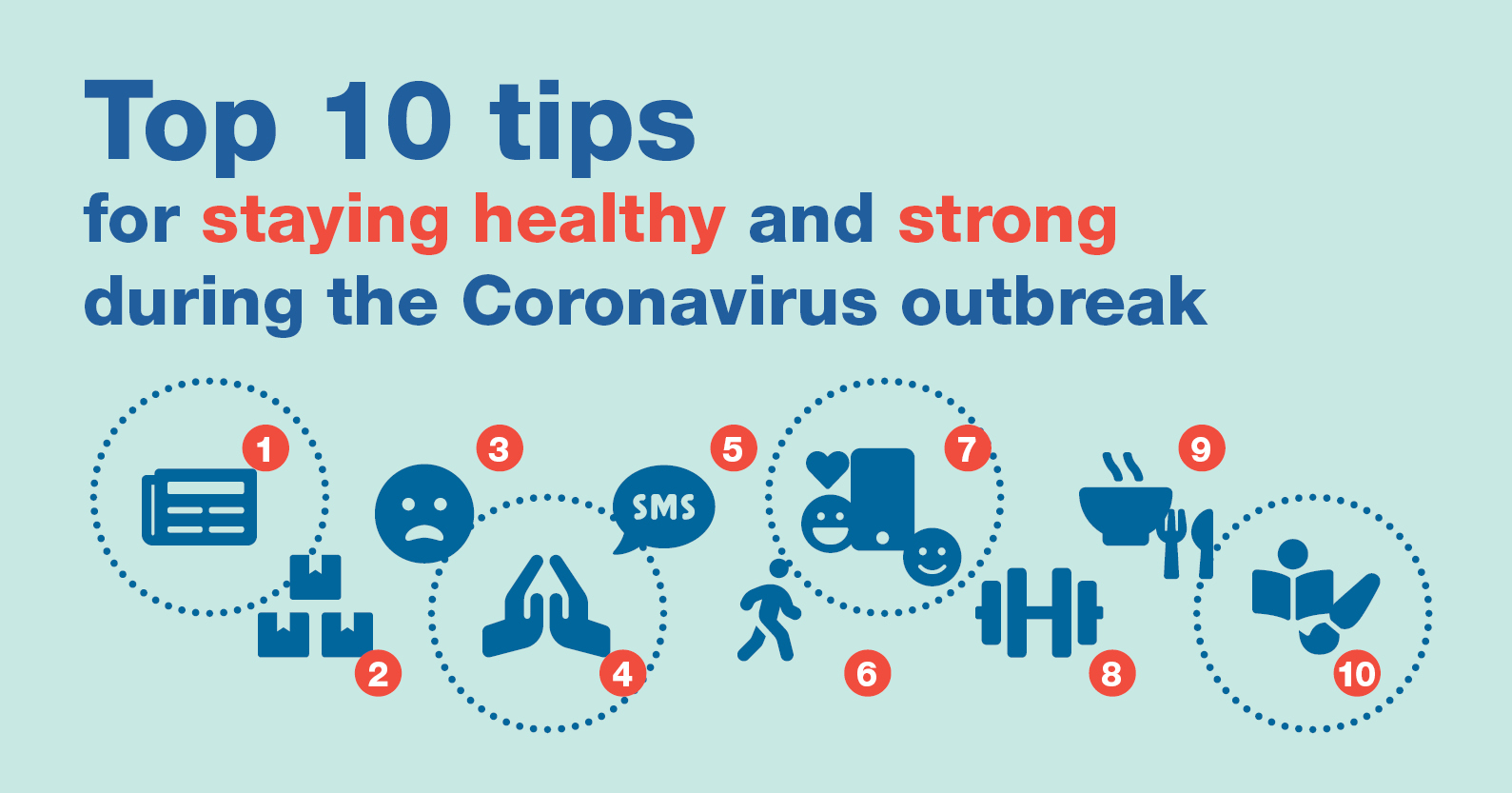 Top 10 tips for staying healthy and strong during the coronavirus outbreak